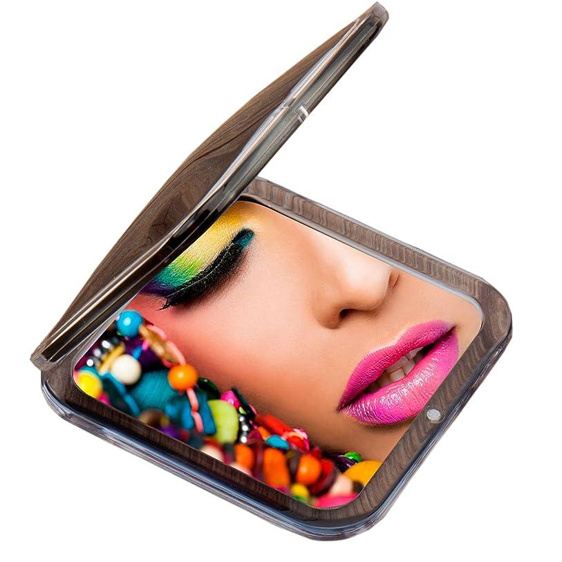 視力ミリメートル戸棚Miss Sweet コンパクトミラー 両面鏡 化粧鏡 1倍*10倍拡大鏡 (Black)