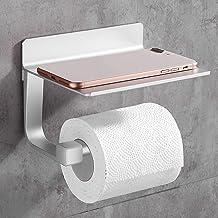 Gricol Toiletpapierhouder, zelfklevende toiletpapierhouder met aluminium plank, telefoonhouder voor keuken en badkamer, zi...