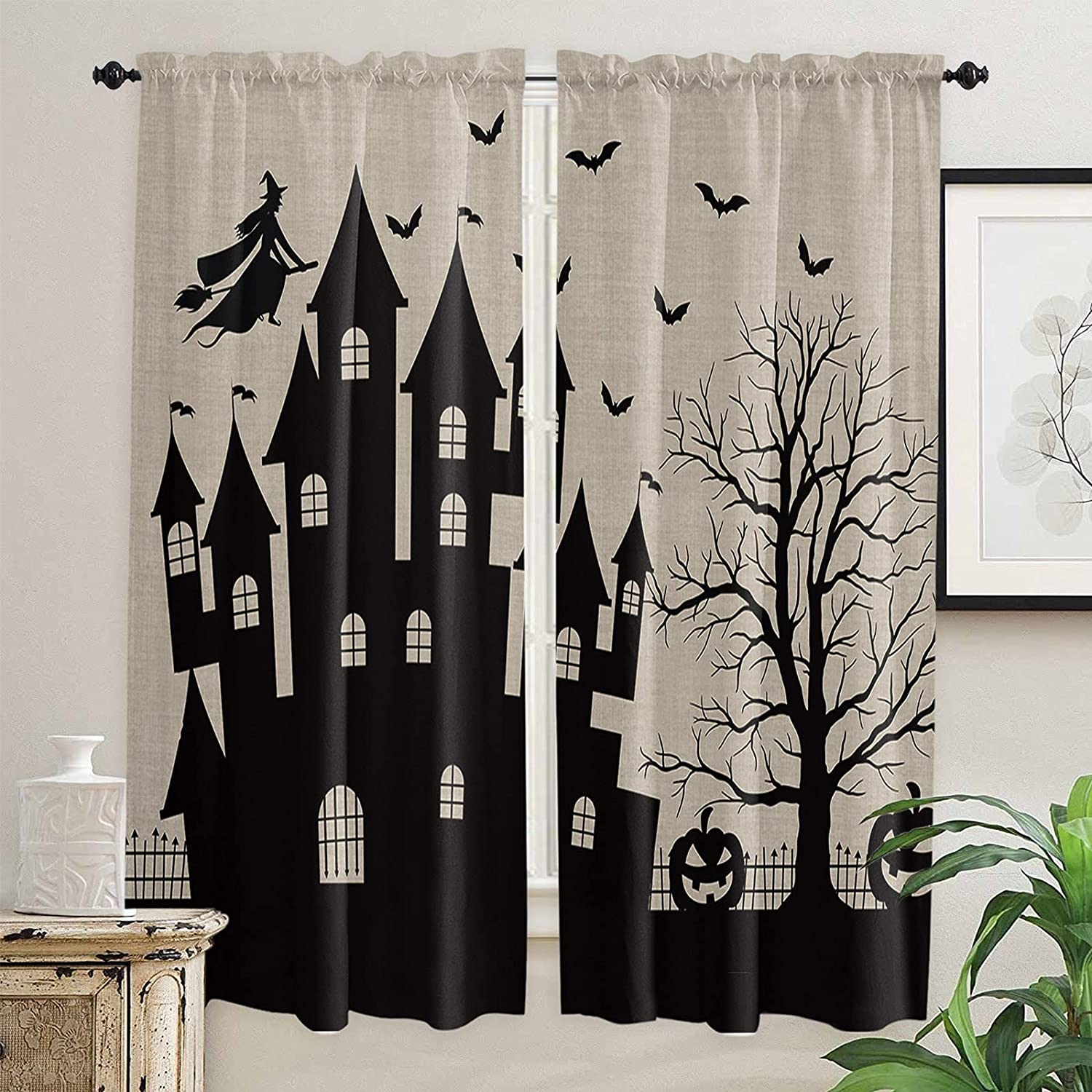 Dark Halloween Theme Kitchen Curtains for 72 Length Inch Mail order OFFicial Windows