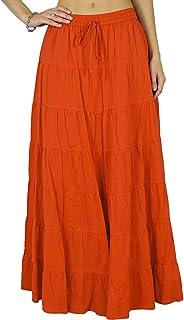 cb0c8bbd6e30c Phagun Coton Summer Femmes Jupe Ethnique Conception de la Taille avec  Cordon de Serrage