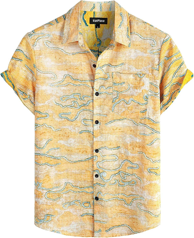 VATPAVE Mens Front Pocket Hawaiian Shirts Short Max 56% OFF Sleeve Bu Casual Max 90% OFF