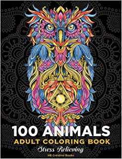 100 animals.Adult coloring book .stress relieving: lions, dogs, bears, wolves, birds, owls. Whales, dolphins, and more