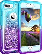 Coolden Case for iPhone 8 Plus Case Protective Glitter Case for Women Girls Cute Bling Sparkle 3D Quicksand Heavy Duty Hard Shell Shockproof TPU Case for iPhone 6s Plus 7 Plus 8 Plus, Aqua Purple