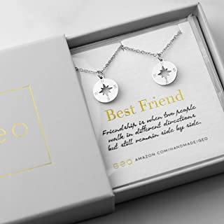Best Friend Necklaces For Two Silver Compass Necklaces For Women Best Friend Gifts BFF Necklace For 2 Friendship Necklace