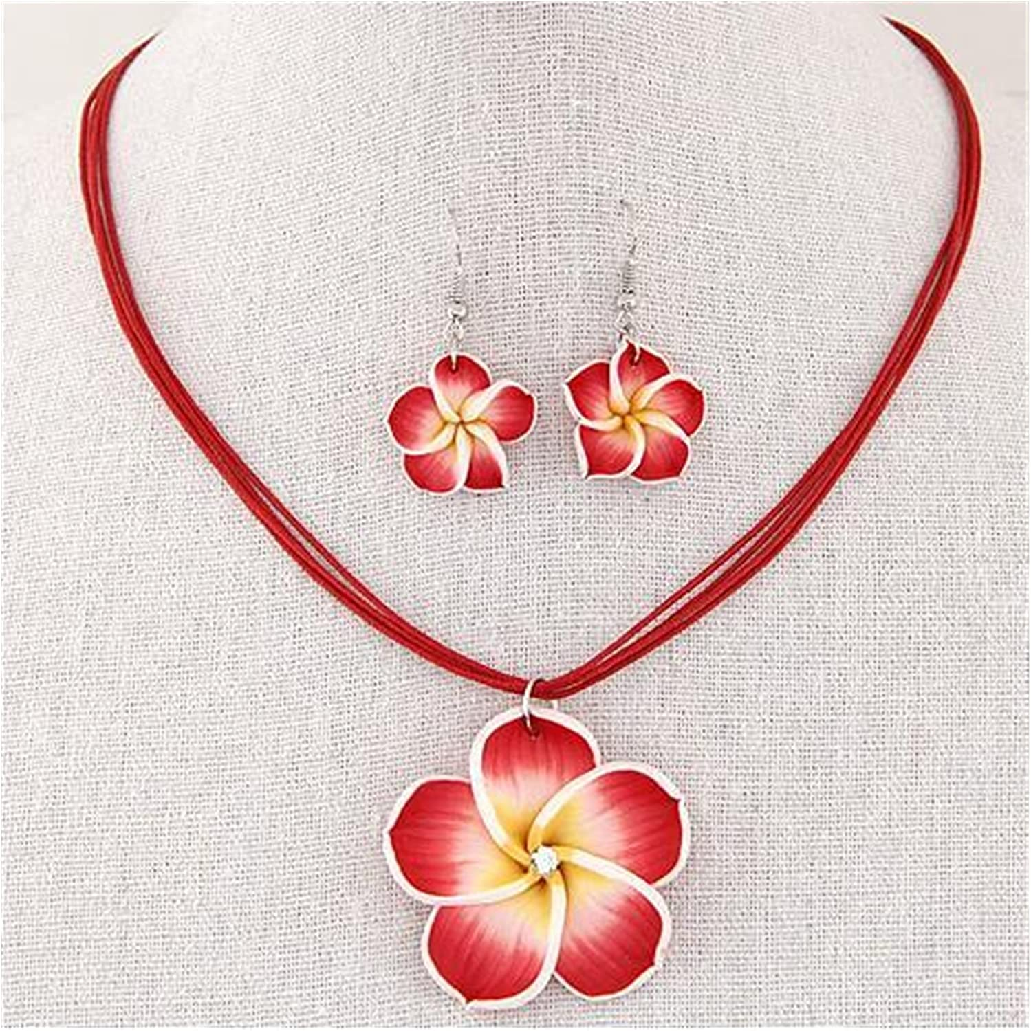 Jewelry Sets Resin Flower Necklaces Earrings for Women Fashion Jewelry Sets Necklace Earings Wedding Party (Color : 5)