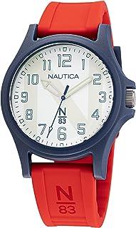 Nautica Men's Quartz Silicone Strap, Red, 20 Casual Watch (Model: NAPJSS119)