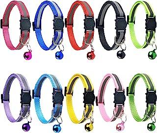 Cat Collars with Bell, Breakaway Cat Collar with Bell, Reflective Cat Collar, Nylon Cat Collar Cat Collars / 10 Pcs Multi-...