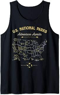 National Parks Map Gifts US Vintage Camping Hiking Women Men Tank Top