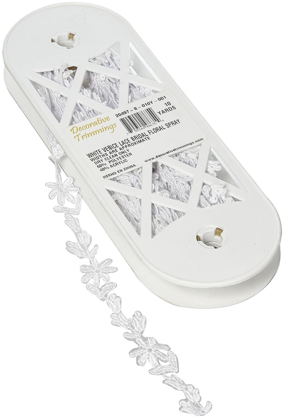 Decorative Trimmings White Floral Spray Bridal Venice Lace Trim 1