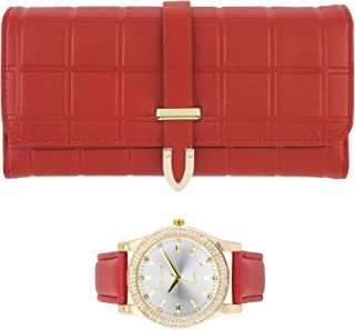 Ladies Wallet Sets with Matching Watch - Red