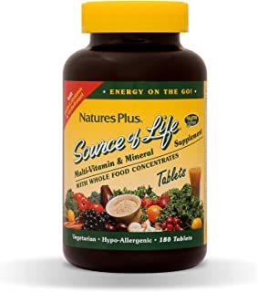 NaturesPlus Source of Life Multivitamin - Whole Food Nutritional Supplement with Chelated Minerals, Energy Booster - 180 V...