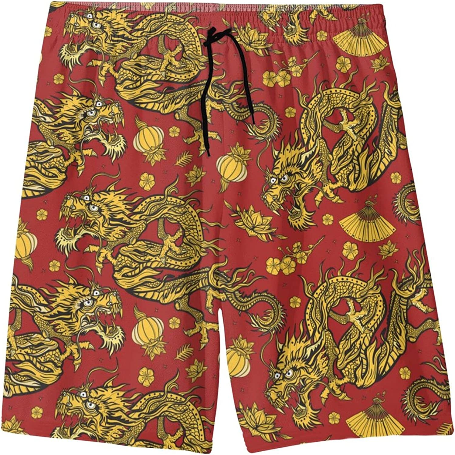 Golden Chinese Dragons Boys Quick Dry Swim Trunks Youth Novelty Beach Surfing Board Shorts 7-20 Years