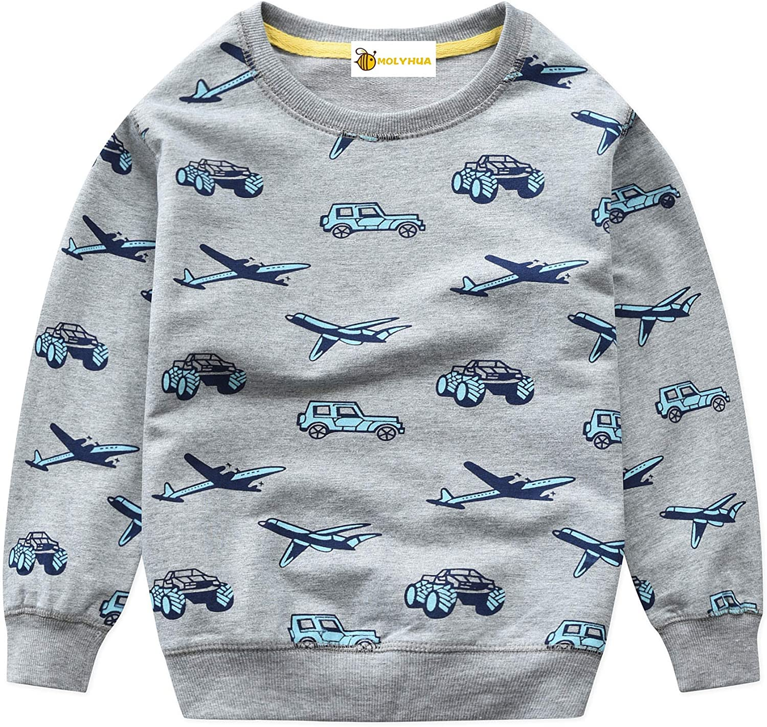 Toddler Boys Car Sweatshirts Little Kids Grey Long Sleeve Sweaters Cotton Casual Pullover Child Crewneck Tops 2-7T