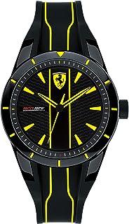 Ferrari Men's Red Rev Quartz Watch with Silicone Strap, Black, 19 (Model: 830480)