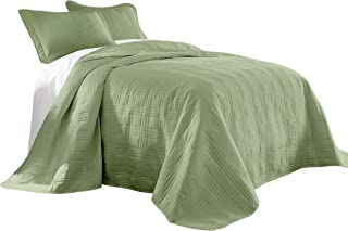 Chezmoi Collection Kingston 3-Piece Oversized Bedspread Coverlet Set (King, Sage)