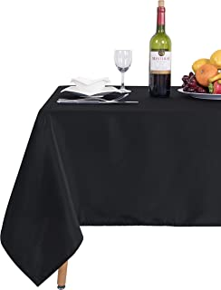 SARAFLORA Rectangle Table Cloth – Washable Water Resistance Microfiber Tablecloth Decorative Table Covers for Picnic Banquet Party Kitchen Dining Room, 100% polyester, 150 GSM (60 x 120 inches, Black)