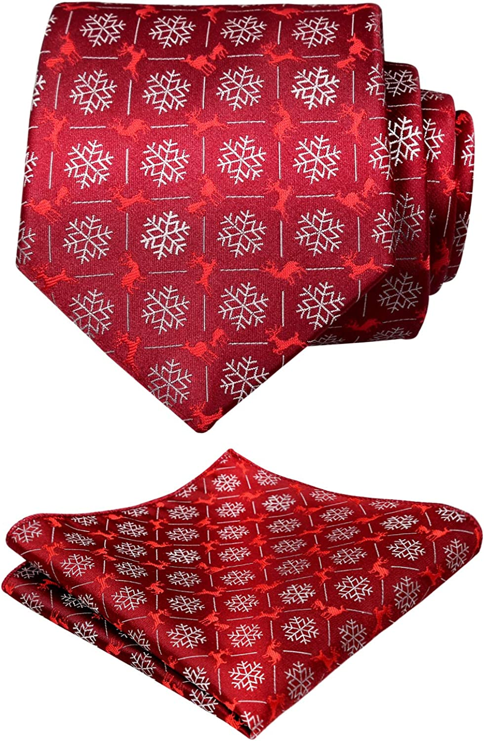Alizeal Mens Regular Tie and Pocket Square Set for Christmas