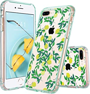 ULAK iPhone 7 Plus Case, iPhone 8 Plus Case Clear with Design Flexible Soft TPU Bumper Shock-Absorption Anti-Scratch Bumper Hard Back Cover for iPhone 7 Plus/8 Plus 5.5 inch (Lemon Drop)
