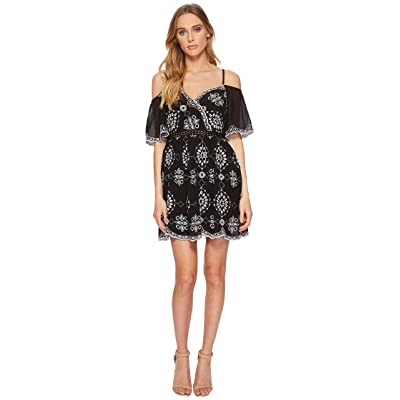 ROMEO & JULIET COUTURE Embroidery Dress w/ Cold Shoulders (Black/White) Women