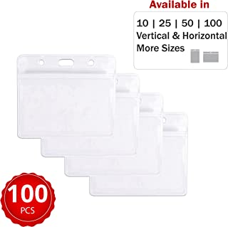 Durable & Heavy-Duty ID Badge Holders ~ Premium Quality, Clear Plastic, Waterproof & Dustproof ~ for Work, Moms, Tours, Teachers, Events, Cruises & More (100 Pack, Horizontal) by Stationery King