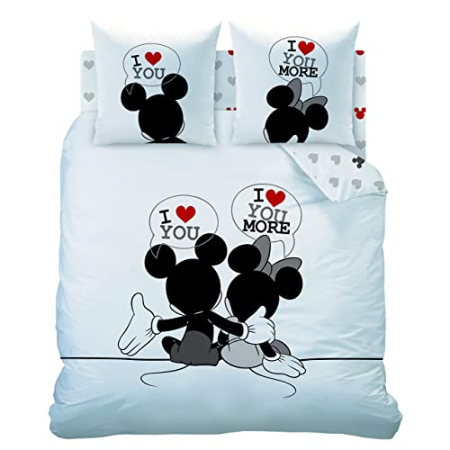 CTI 041859 Housse de Couette 240x220 + 2 Taies d'Oreiller 63x63 Disney Mickey Mouse M&M The End Coton Blanc/Noir 31,5 x 21 x 5 cm