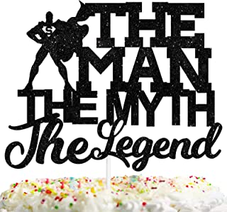 Super The Man The Myth The Legend Cake Topper Dad Birthday Theme Father Party Decor Picks for Retirement Decorations Suppl...