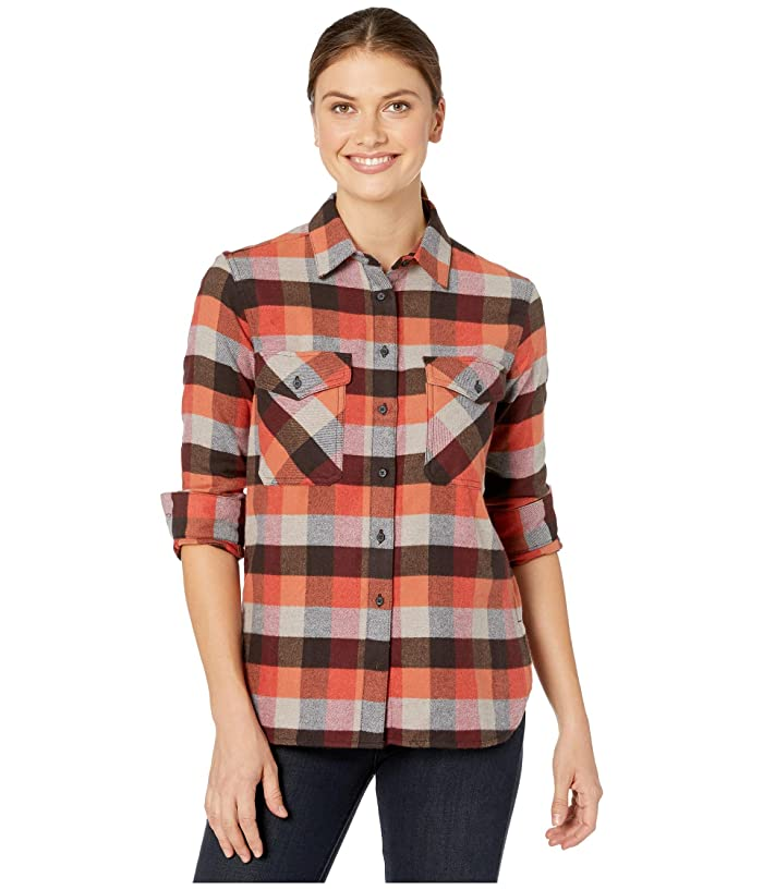 Vintage Tops & Retro Shirts, Halter Tops, Blouses Pendleton Elbow Patch Flannel Shirt Red RockGrey Multi Check Womens Clothing $70.53 AT vintagedancer.com