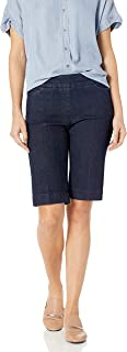 SLIM-SATION womens Wide Band Pull-On Solid Walking Short Shorts