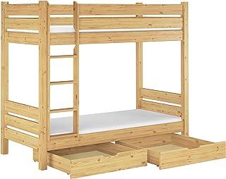 Erst-Holz Lit superposé pour Adultes pin Naturel très Confortable 100x200 literie et 2 tiroirs 60.16-10T100MS2