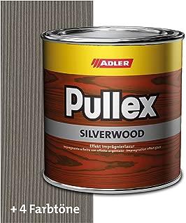 ADLER Pullex Silverwood - Effekt Imprägnierlasur & Holz Grundierung - Farbige Holzlasur Außen als effektiver Wetterschutz mit speziellen Metalleffektcharakter - Holzschutzlasur Farbe: Graualuminium 750 ml