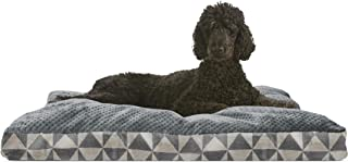 Furhaven Pet Dog Bed | Deluxe Plush Kilim Pillow Cushion Traditional Mattress Pet Bed w/ Removable Cover for Dogs & Cats, Pyramid Gray, Large