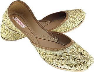 Fulkari Women's Kundan Orange Gold Genuine Soft Leather Jutis | Bite and Pinch Free Jutis | Punjabi Jutti for Ladies Flat Mojari | Bridal Ethnic Flats for Girls |