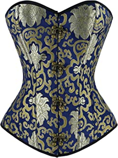 Charmian Women's Vintage Spiral Steel Boned Embroided Boby Shaper Corset Top, Gold/Blue, 4X-Large