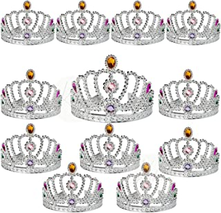 Kicko Rhinestone Tiaras - 12 Pack - Elegant Girl Hair Accessories Hair Comb Princess Crown Set - Rhinestone Plastic Silver...