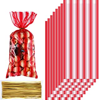 100 Pieces Plastic Circus Carnival Party Treat Bags Red and White Stripe Printed Clear Cellophane Carnival Party Cookie Ca...