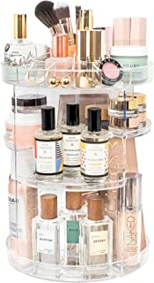 Tranquil Abode Rotating Makeup Organizer | +Extra Brush Holder | Adjustable, Spinning Storage for Make up, Brushes, Perfume, Cosmetics, and Skincare Products | Clear Acrylic
