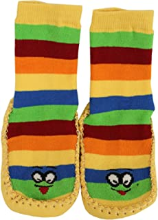 1 Par de Cabanas Zapatos Calcetines de Casa con Suela de Cuero y Rayas para Ninos