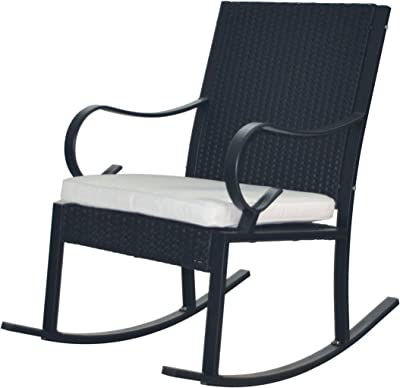 Christopher Knight Home 304345 Muriel Outdoor Wicker Rocking Chair, Black/White Cushion
