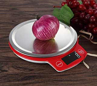 Digital Kitchen Scale tainless Steel 5kg/1g, LIBRAC High Accuracy Multifunction Food Scale with LCD Display for Baking Kitchen Cooking,Tare & Auto Off Function (Red)