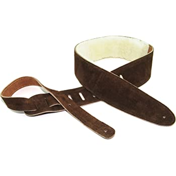 Brown Pu Leather Guitar Strap With Gold Buckles Adjustable Cgs3