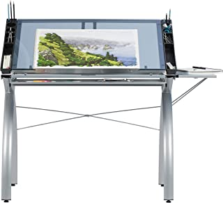 SD Studio Designs 10095 Futura Station with Folding Shelf Top Adjustable Drafting Craft Drawing Hobby Table Writing Studio Desk with Drawer, 35.5`` W x 23.75`` D, Silver/Blue Glass