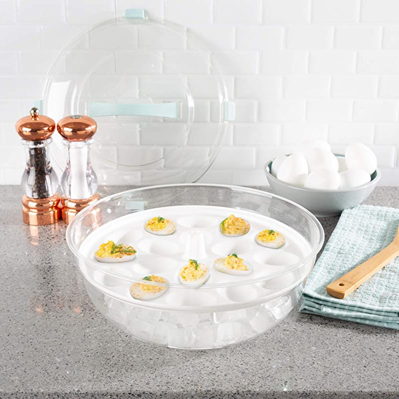 Classic Cuisine Cold Appetizer Tray 4 In 1 Chilled Platter With Ice Compartment Lid Multiuse Bowl Deviled Egg 3 Section Carrier Serving Dish