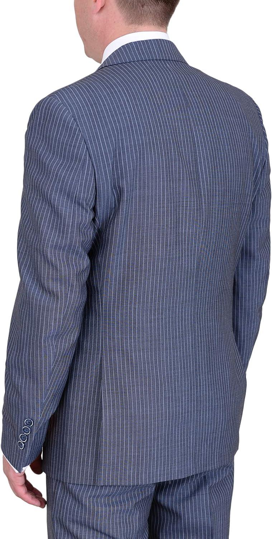 Tallia Orange Trim Fit Blue Gray Striped Wool Mohair Blend Suit with Peak Lapels