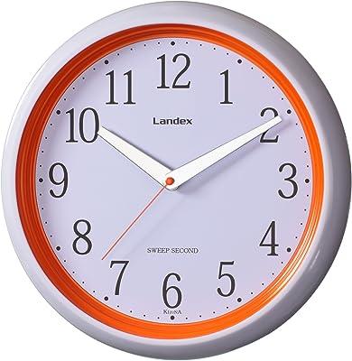 LANDEX(ランデックス) スタイリッシュ壁掛け時計 キズナ 連続秒針 オレンジ YW9091OR