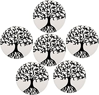 Absorbent Coasters for Drinks, WarmHut Set of 6 Absorbent Stone Coaster with cork backing, Protect Furniture from Damage, Spills and Scratches, Ideal Housewarming Gift (Tree of Life, Round)