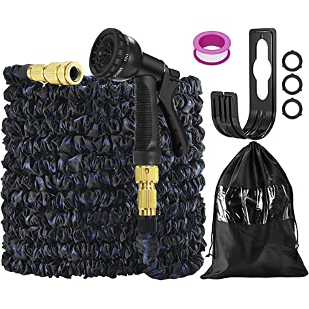 Flexible Hose Pipe 100FT/30M,Expandable Garden Hose Pipes with Hose Pipe Attachments/Tap Connectors Fittings/Spray Gun/Holder/Bag,Expanding Hosing Pipe for Gardening,Watering and Washing(Blue/Black)