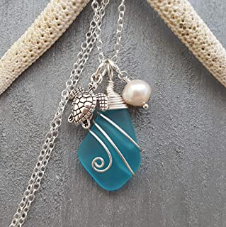 product image for Handmade in Hawaii, wire wrapped blue sea glass necklace, Freshwater pearl, (Hawaii Gift Wrapped, Customizable Gift Message)