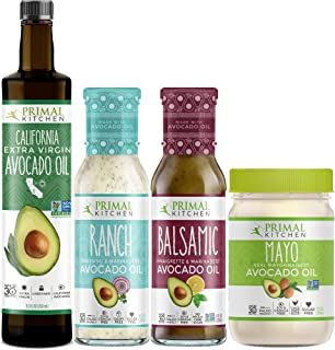 Primal Kitchen Keto Starter Kit Includes Extra Virgin Avocado Oil, Avocado Oil Mayo, and Avocado Oil Dressings (4 count)