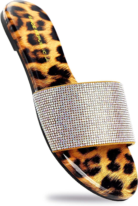 Shoe Republic LA Women's Flat Sandals Rhinestone Glitter Flip Flops Slide On Casual Slippers