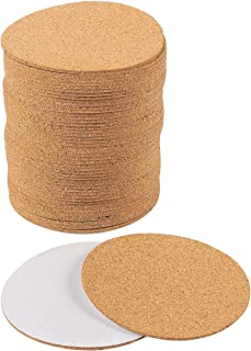 Self-Adhesive Cork Circle - 50-Pack Cork Backing Sheets for Coasters and DIY Crafts